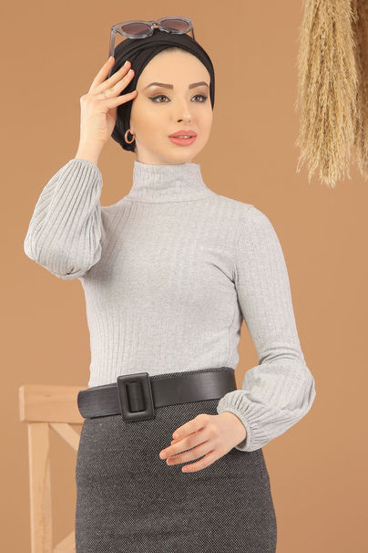 2 pieces Blouse Skirt Combine Anthracite gray - 8275