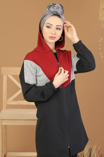 2 pieces Tunic Hooded and Pants black Red - 4118