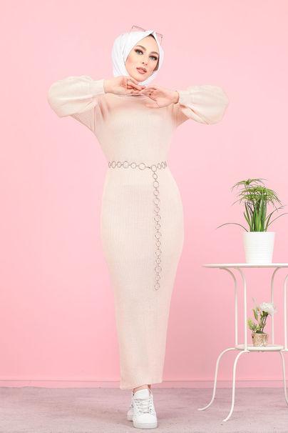 فستان تريكو اكمام بالون زهري فاتح - 8278