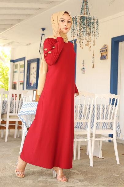 Dügme Detay Elbise Bordo - 2789