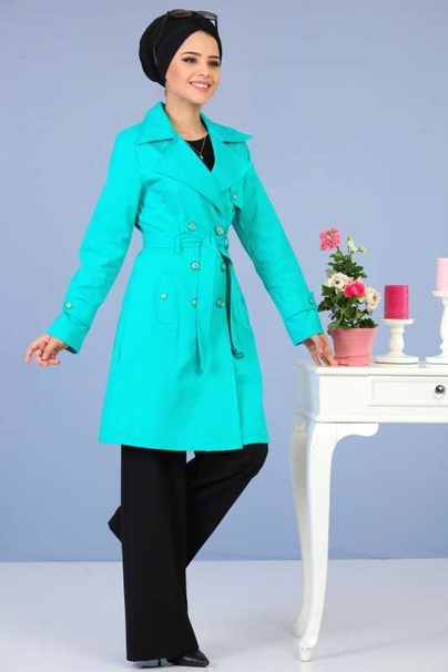 Long Trench Coat - Turquoise 02 6331