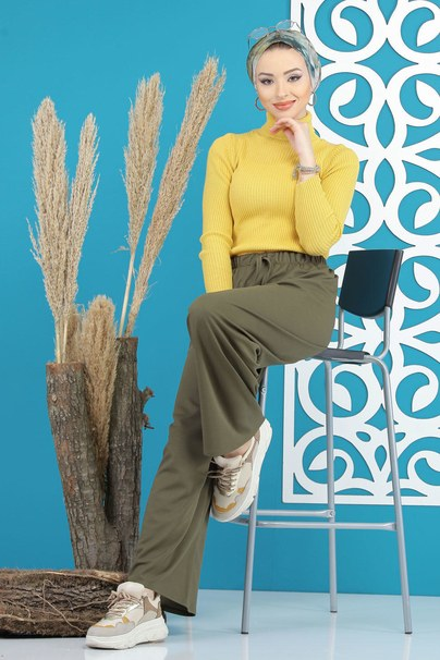 Pants Wide leg khaki - 02 7669