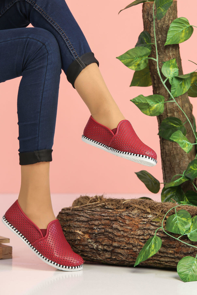 Perforated shoes Claret red - 02 7521