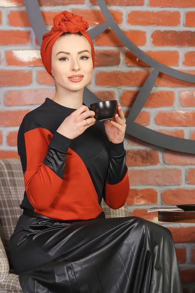 Plise Etek Bluz Siyah Kiremit - 1349
