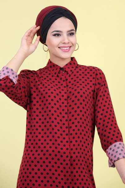 Puantiyeli Tunik Bordo - 02 7040