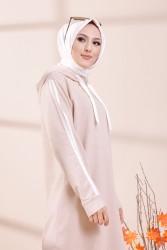 Şeritli Kapşonlu Elbise Taş - 3227