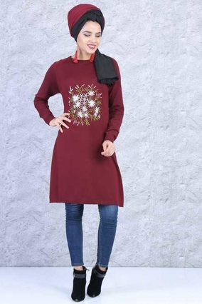 TOFİSA - Triko Tunik - Bordo 02 6211
